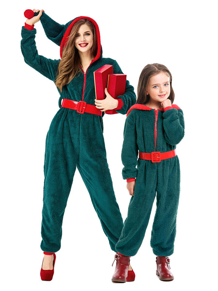 Milanoo Kigurumi Pajamas Onesie Christmas Red Winter Sleepwear Animal Costume Halloween