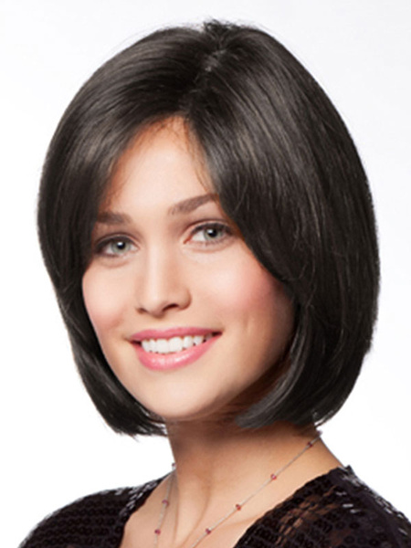 Milanoo Pelucas de cabello humano negras Bobs estilo moderno 12 inches