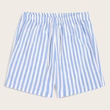 Guys Drawstring Elastic Waist Striped Shorts