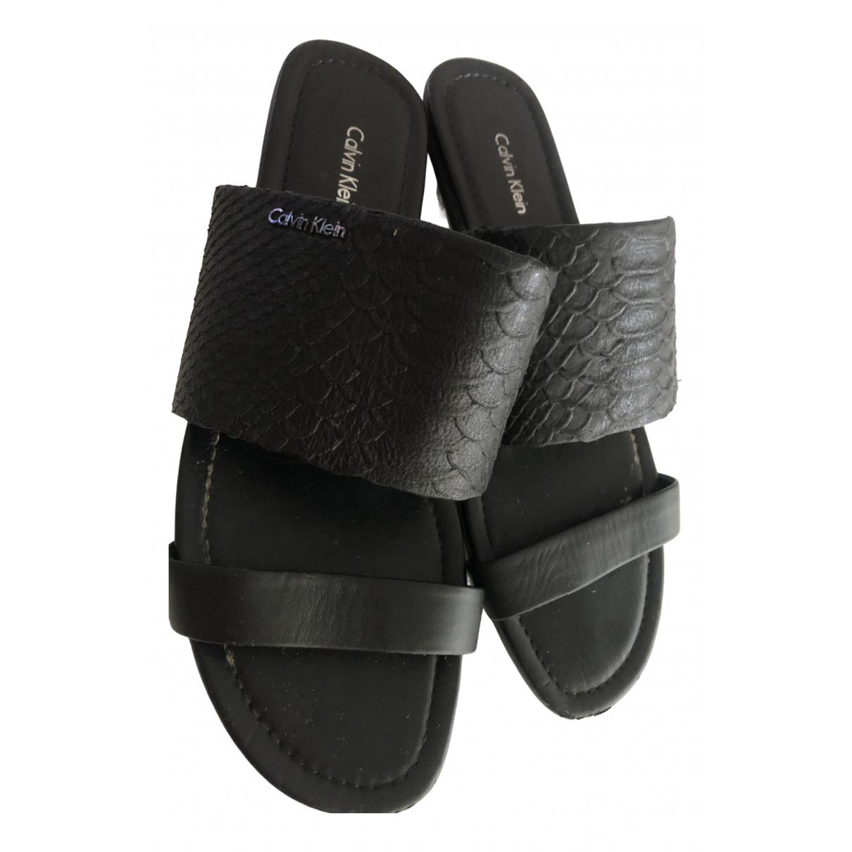 Calvin Klein \N Black Leather Sandals for Women 39 EU