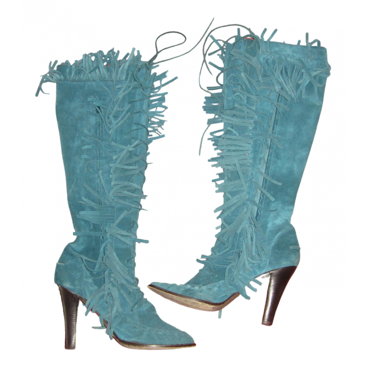 Cacharel N Blue Leather Boots for Women 41 EU