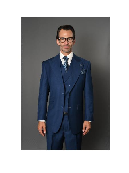 Brand Mens REGULAR FIT PLEATED PANTS ITALIAN Wool FABRIC Vest Sapphir