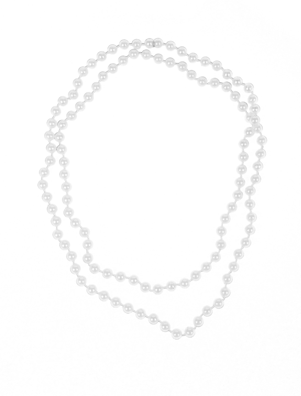 Kostuemzubehor Halskette Perlen silber 122cm