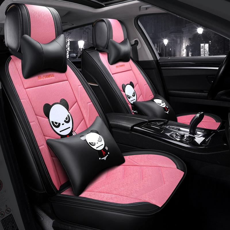 Creative Style Cartoon Linen Universal Car Seat Cover