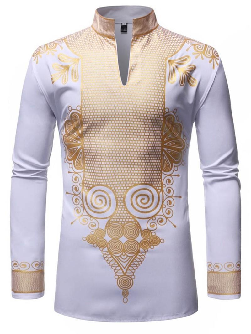 Ericdress African Fashion Dashiki Stand Collar Print Mens Shirt