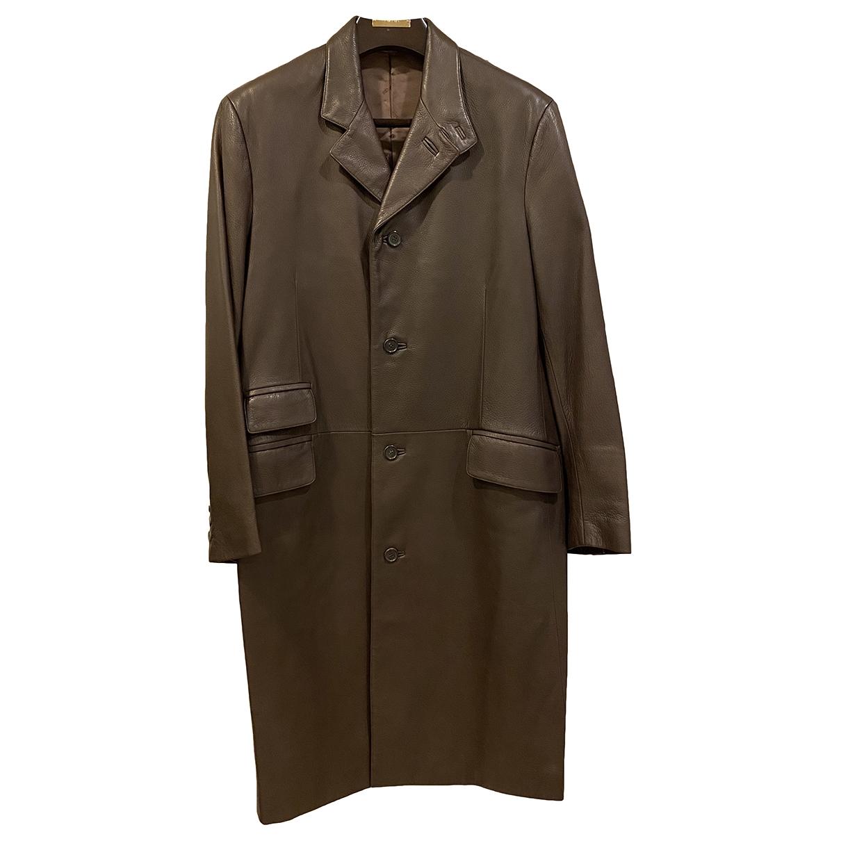 Hermes - Manteau   pour homme en cuir - marron