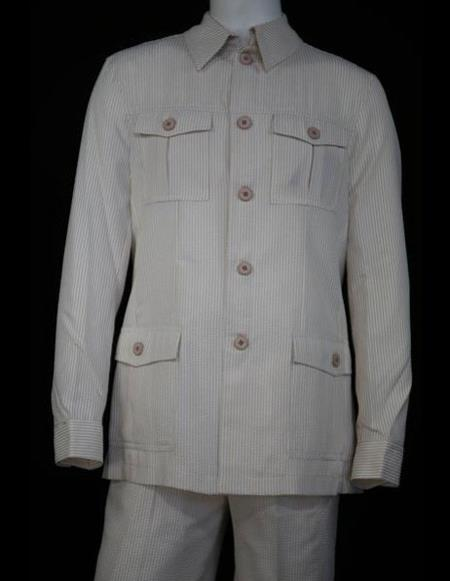 Mens Safari Style Seersucker Long Sleeve Beige Walking Suit Set