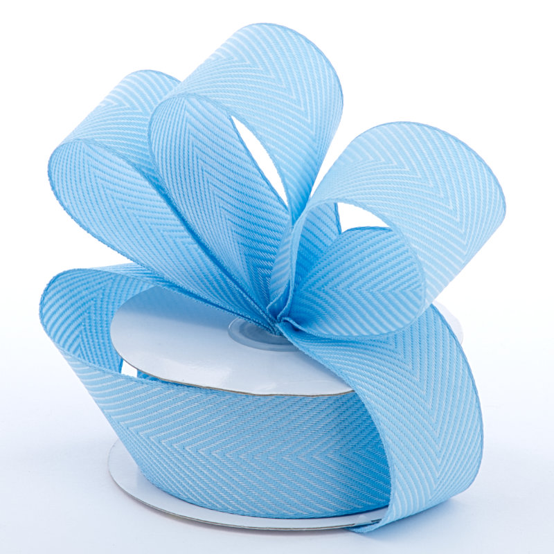 Jute 1-1/2 X 10 Yards Light Blue Herringbone Ntrl Ribbon by Ribbons.com