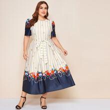 Plus Starfish & Stripe Mixed Print Belted Dress