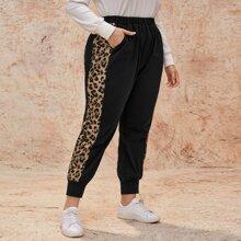 Pantalones panel de leopardo