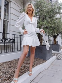 Button Front Ruffle Trim Solid Dress