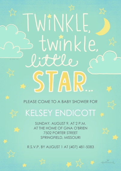 Baby Shower Invitations 5x7 Cards, Premium Cardstock 120lb, Card & Stationery -Twinkle, Twinkle, Little Star