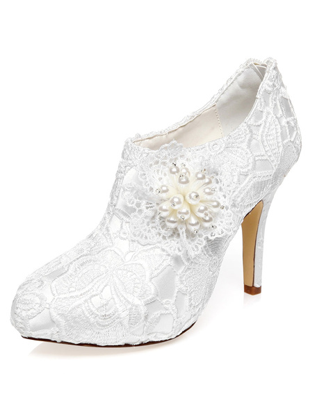 Milanoo White Bridal Booties Flowers Lace Pearls Wedding Shoes