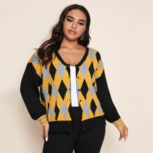 Argyle Pullover Mantel mit sehr tief angesetzter Schulterpartie und einreihigen Knopfen