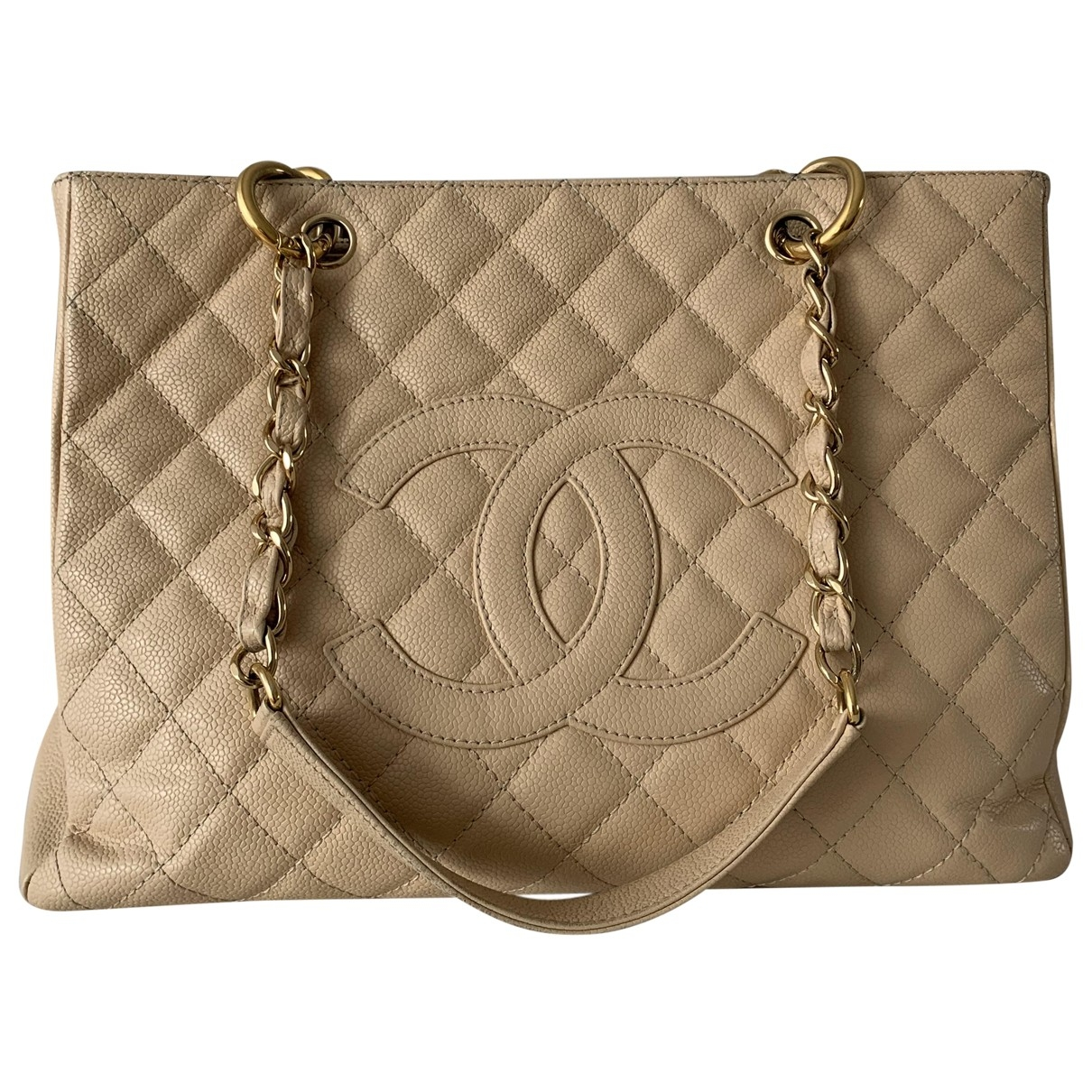 Chanel Grand shopping Beige Leather handbag for Women \N