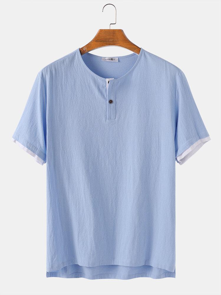 Men 100% Cotton Solid Color Light Breathable Casual Henley Shirt