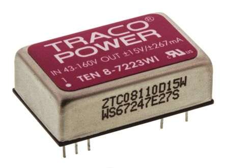 TRACOPOWER TEN 8WI 8W Isolated DC-DC Converter Through Hole, Voltage in 43 → 160 V dc, Voltage out ±15V dc
