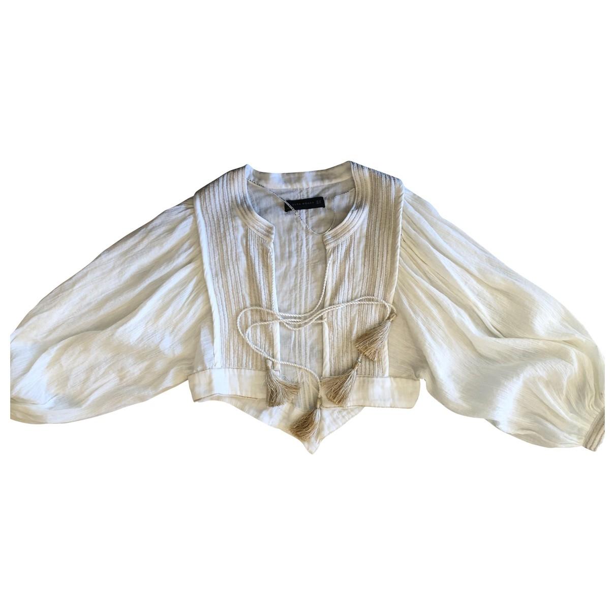 Zara \N White Linen jacket for Women 36 FR