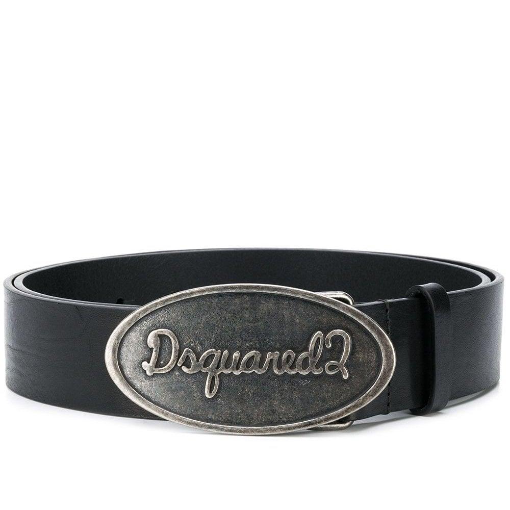 DSquared2 Round Logo Buckle Belt Colour: BLACK, Size: 36
