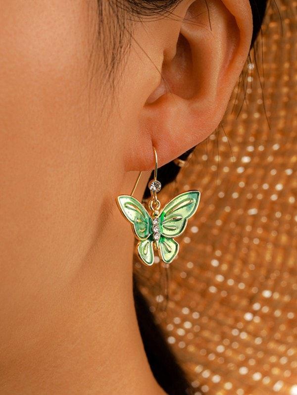 Rhinestone Butterfly Fresh Style Hook Earrings