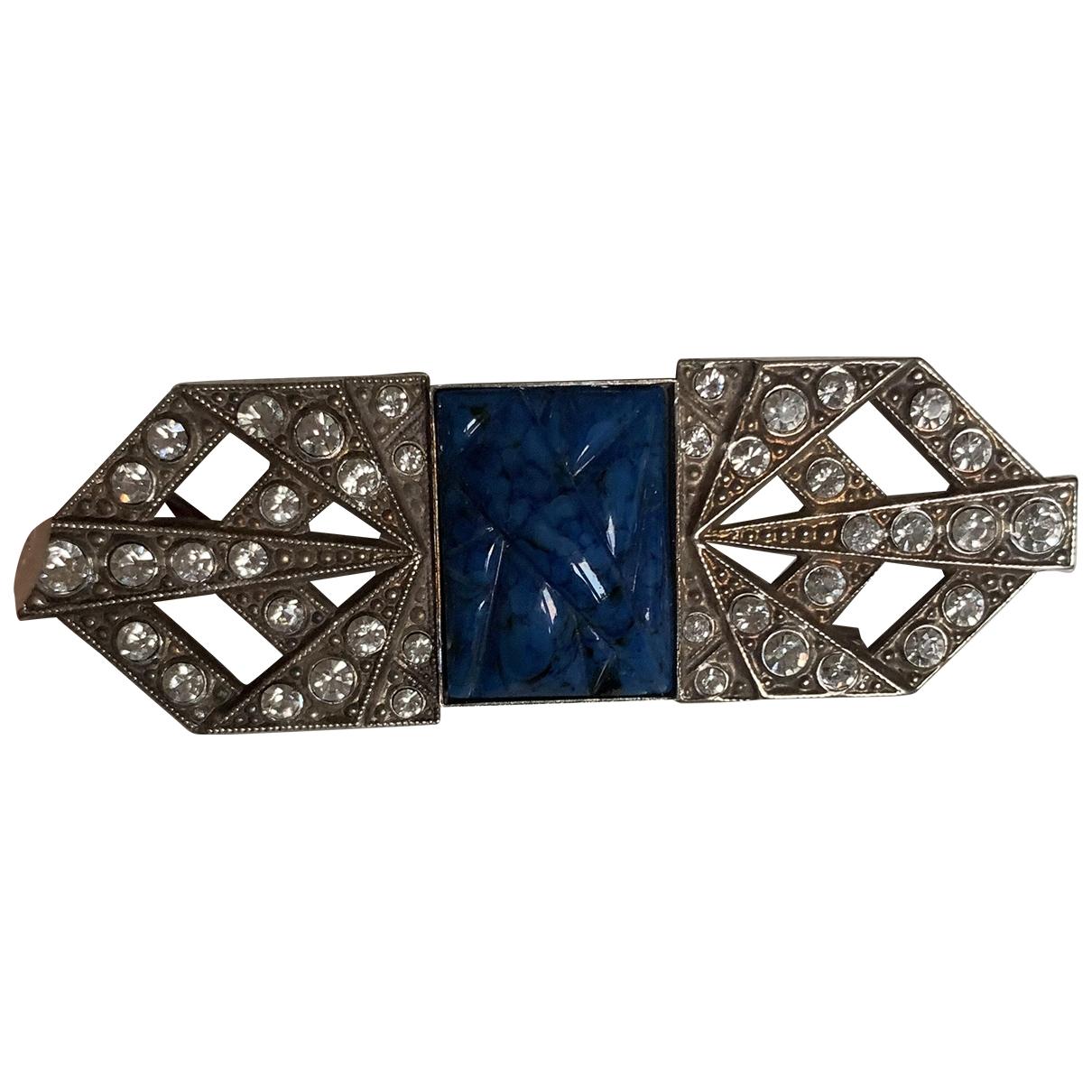 Broche Art Deco en Metal Azul Non Signe / Unsigned
