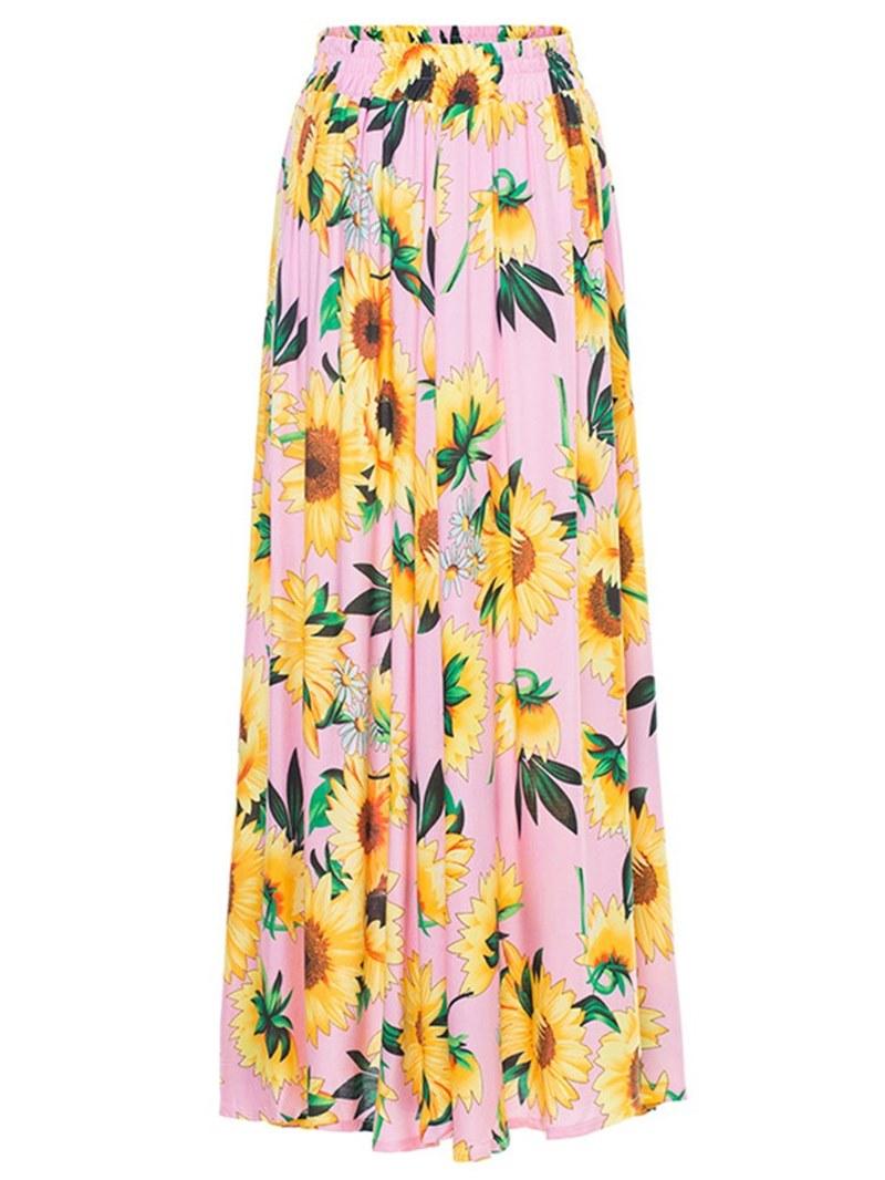 Ericdress Floral Pleated Elastic Waist Women's Skirts