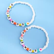 2pcs Girls Letter Graphic Beaded Bracelet
