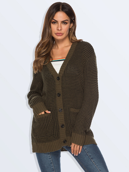 Yoins Front Button Pockets Knit Cardigan
