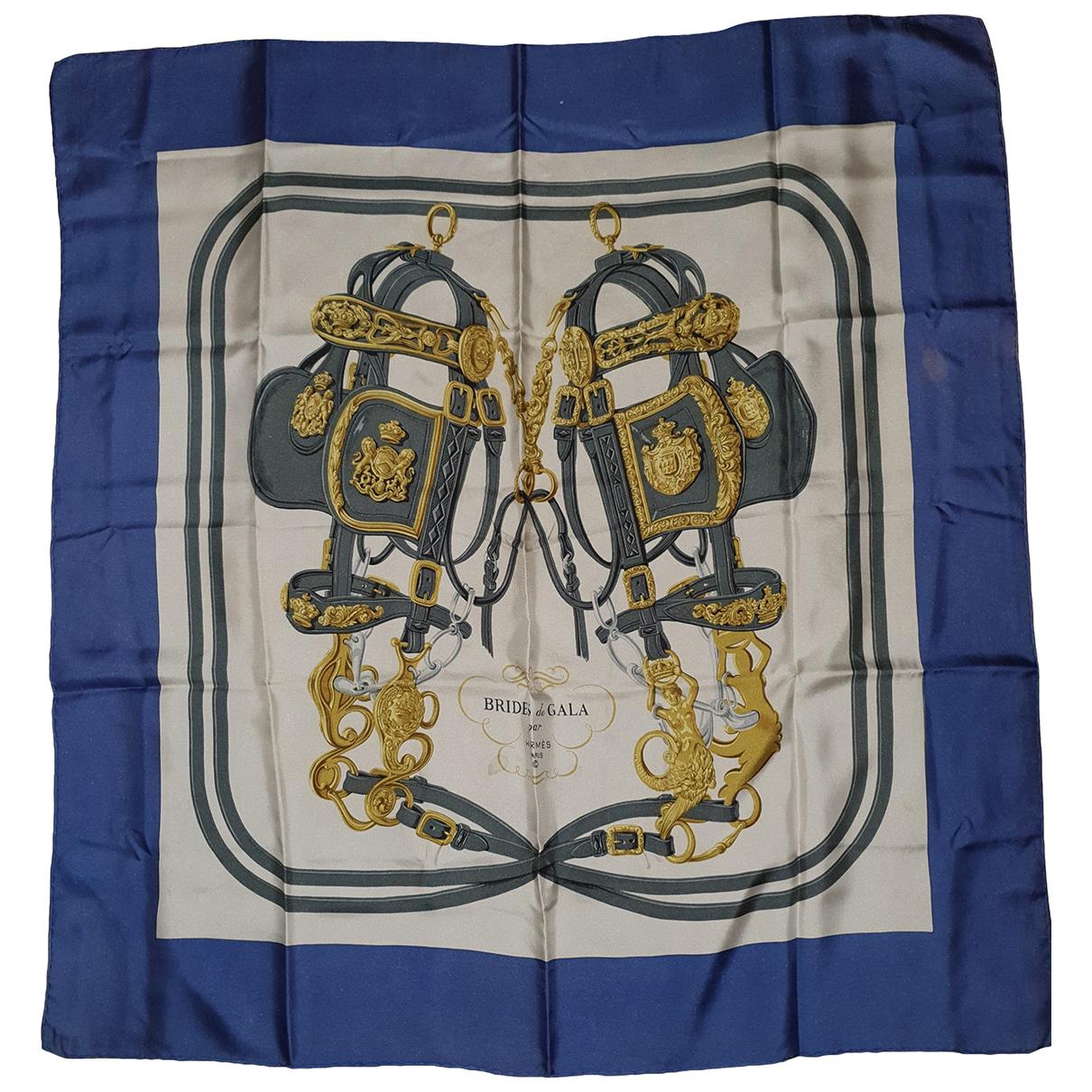 Hermes Carre 90 Tuecher in  Blau Seide