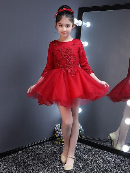 Milanoo Vestido para las niñas de flores de tul de color borgoña con escote redondo de encaje con 3/4 manga