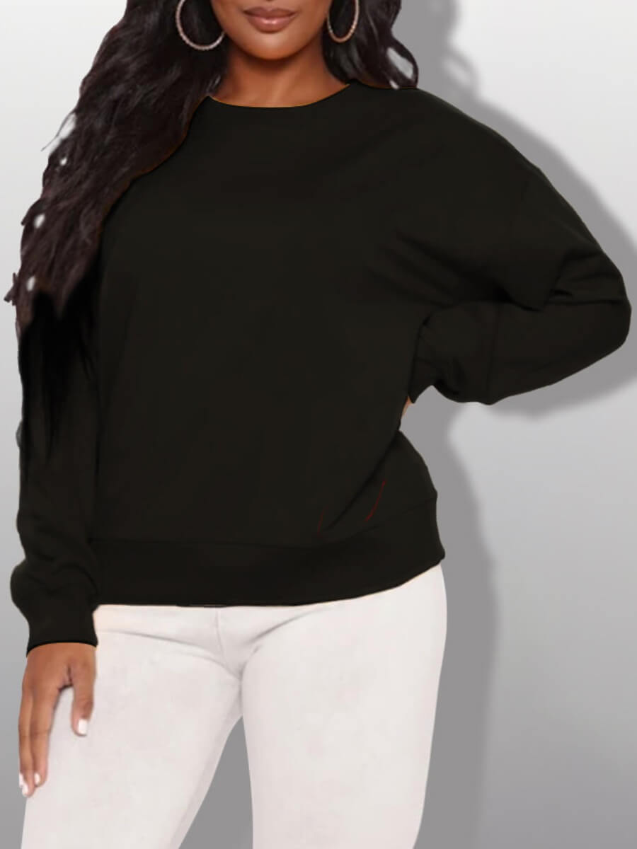 LW Lovely Casual O Neck Long Sleeve Black Plus Size Hoodie