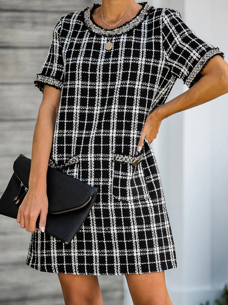 Yoins Side Pockets Plaid Round Neck Short Sleeves Dress