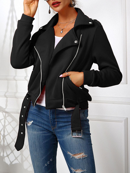 Milanoo Women Motorcycle Jackets Black Turndown Collar Zipper Short Jacket For Women
