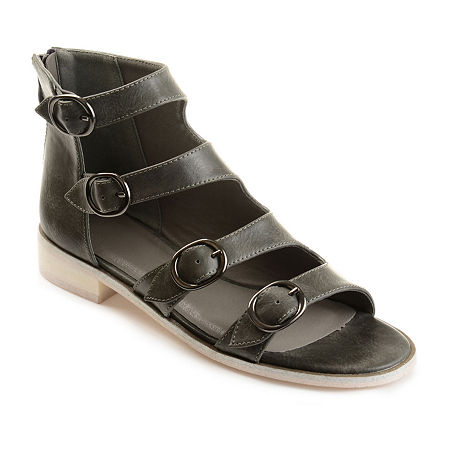 Journee Collection Womens Oakly Flat Sandal, 7 1/2 Medium, Gray