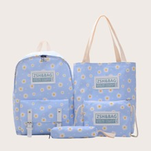 Girls 4pcs Floral Graphic Backpack Set