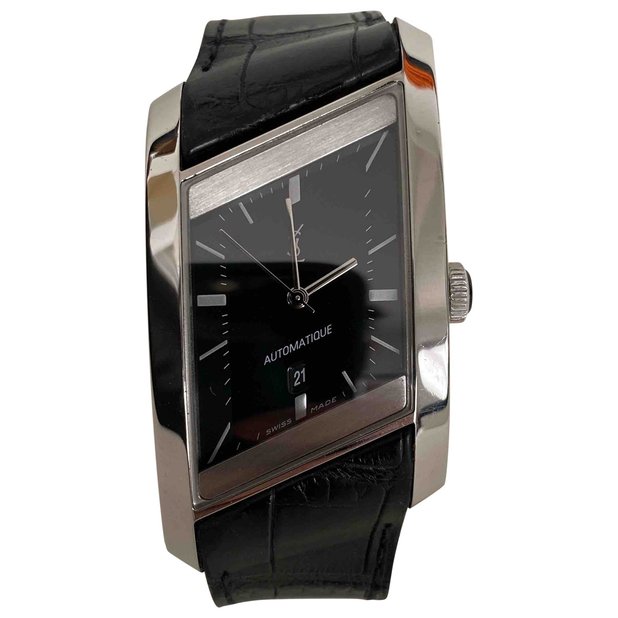 Yves Saint Laurent \N Uhr in  Schwarz Silber