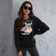 Sweatshirt mit Auto und Buchstaben Grafik