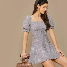 Ruched Drawstring Waist Puff Sleeve Dalmatian & Floral Dress