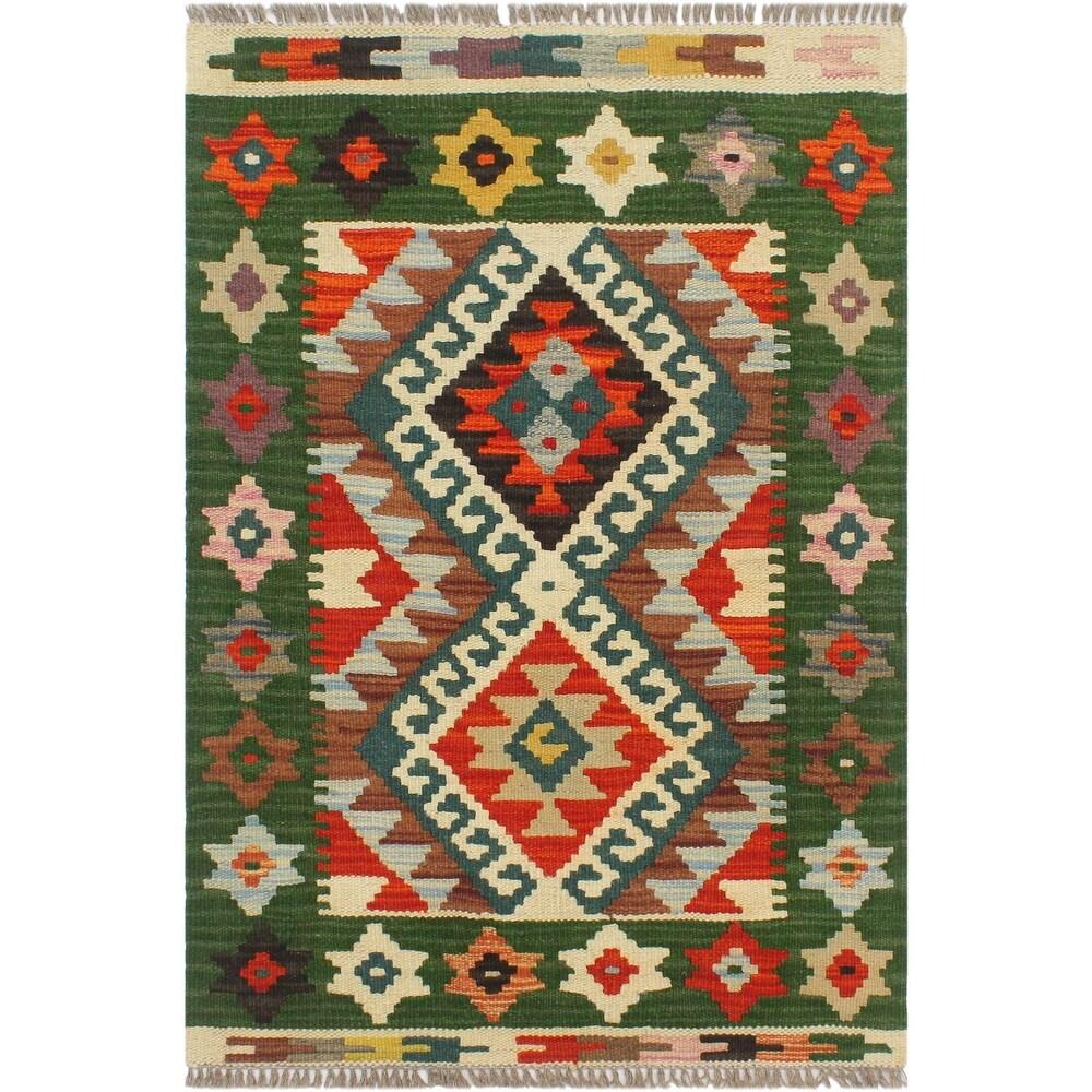 Tribal Turkish Kilim Hiedi Hand-Woven Area Rug - 2'0