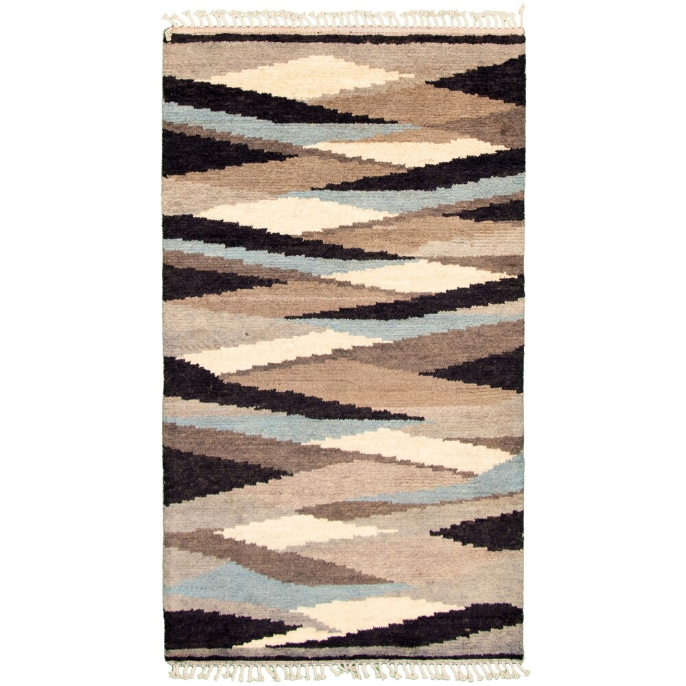 ECARPETGALLERY  Hand-knotted Pak Finest Marrakesh Taupe Wool Rug - 4'11 x 8'6 (Taupe - 4'11 x 8'6)