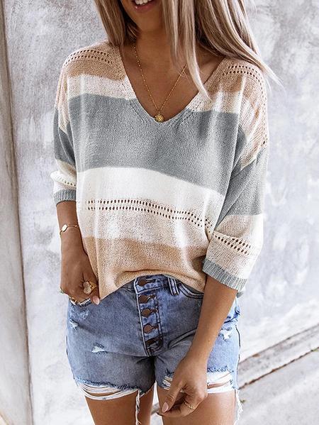 Yoins Color Block Hollow Design V-neck Long sleeves Sweater