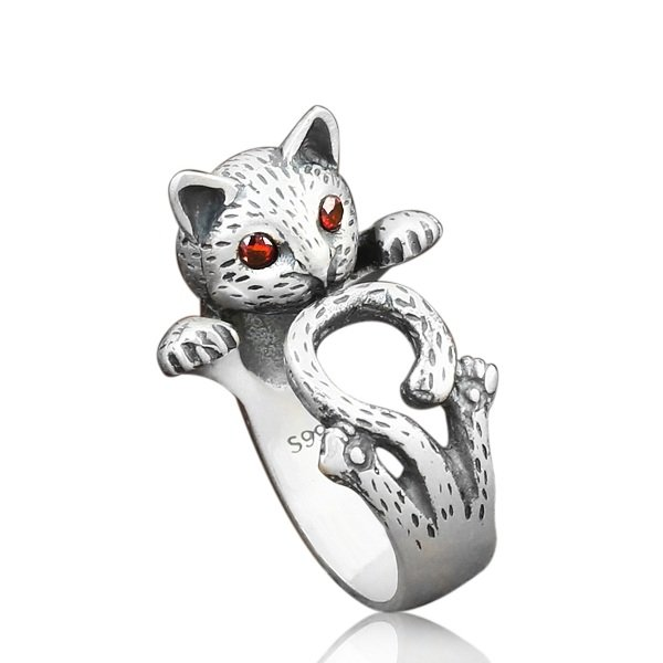 Vintage Finger Rings Red Eyes Fortune CatCute Antique Silver Rings Ethnic Jewelry for Women