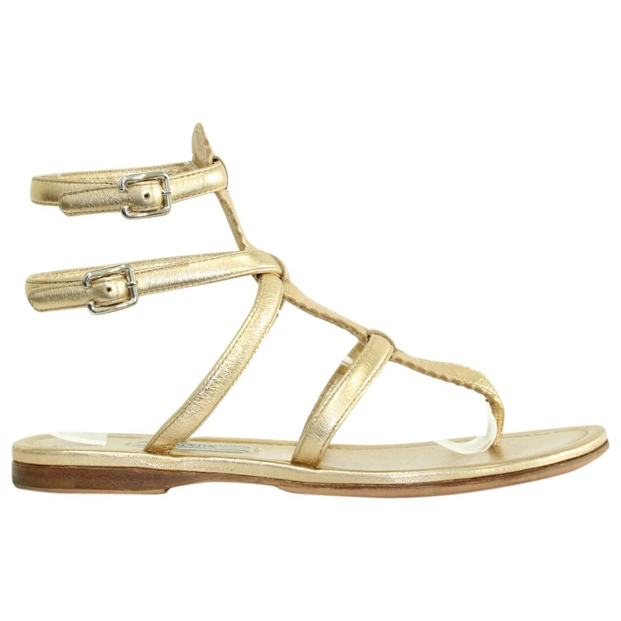 Prada \N Gold Leather Sandals for Women 36 EU