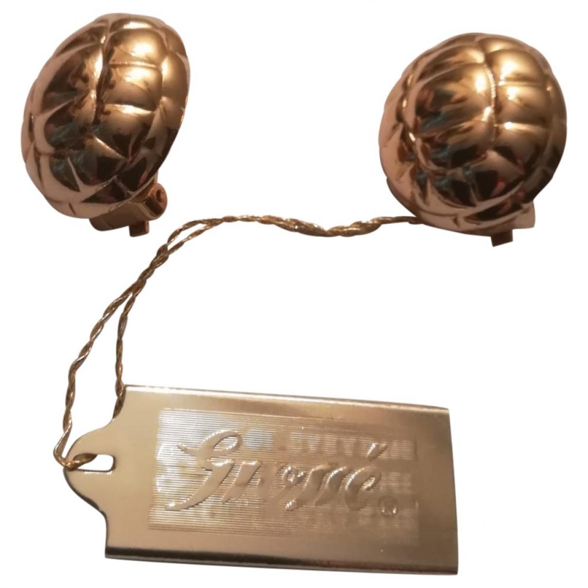 Grosse - Boucles doreilles   pour femme en plaque or - dore