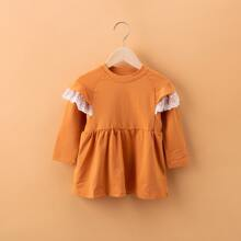 Toddler Girls Contrast Lace Ruffle Babydoll Tee