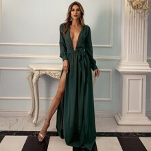 Plunging Neck Belted M-slit Dress Without Panty