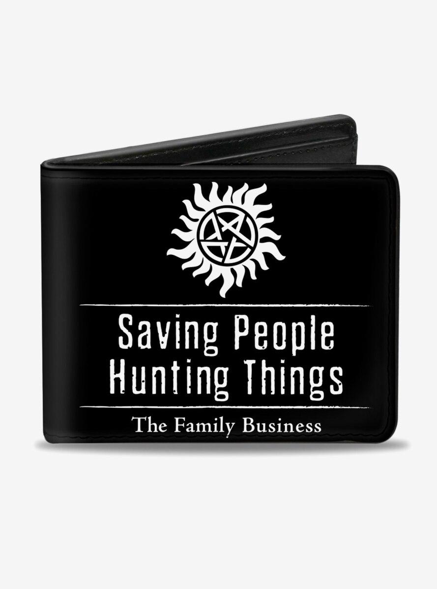 Supernatural Winchster Logo Saving People Hunting Things Family Business Bi-Fold Wallet