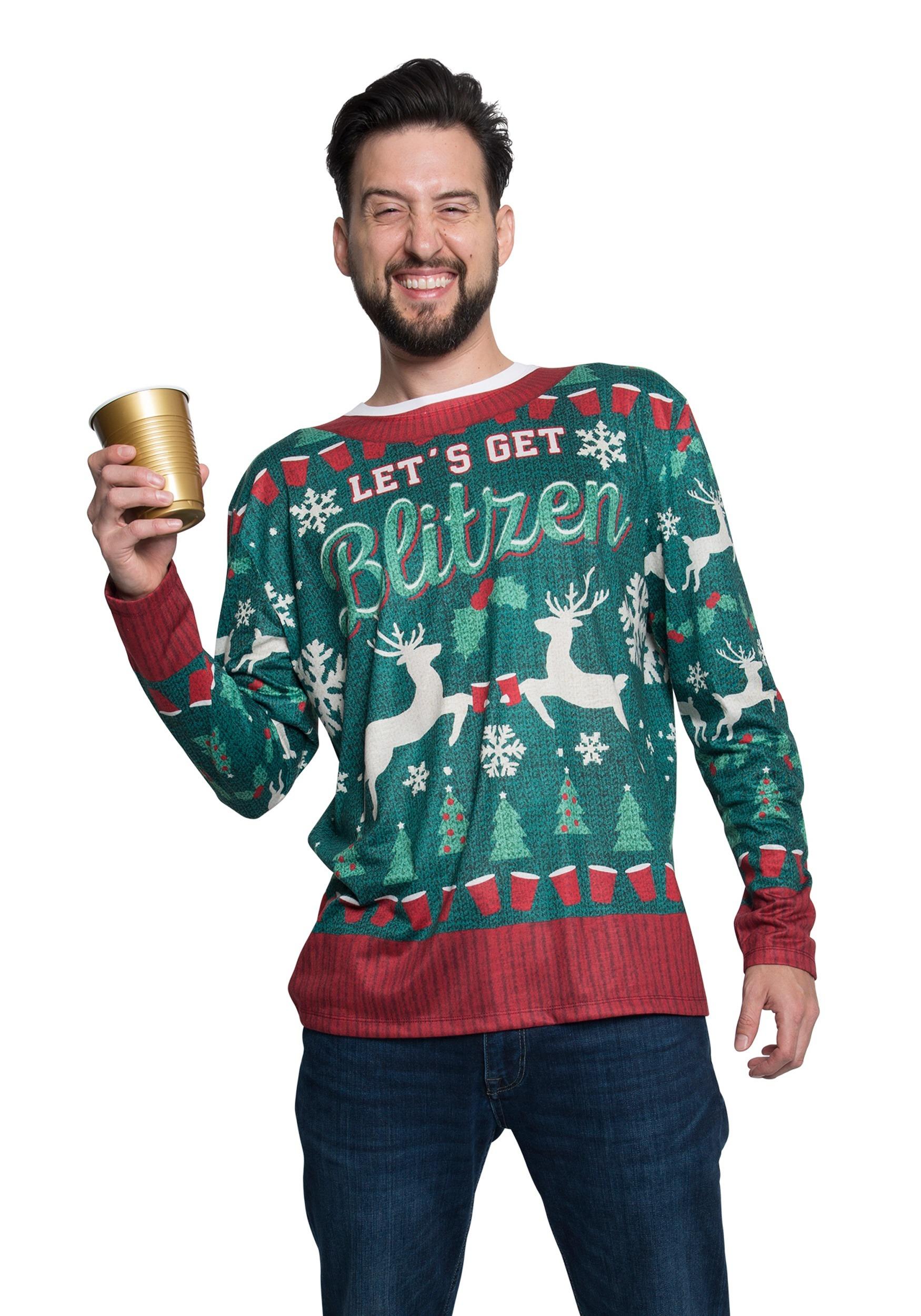 Xmas Blitzen Ugly Christmas Long Sleeve Tee