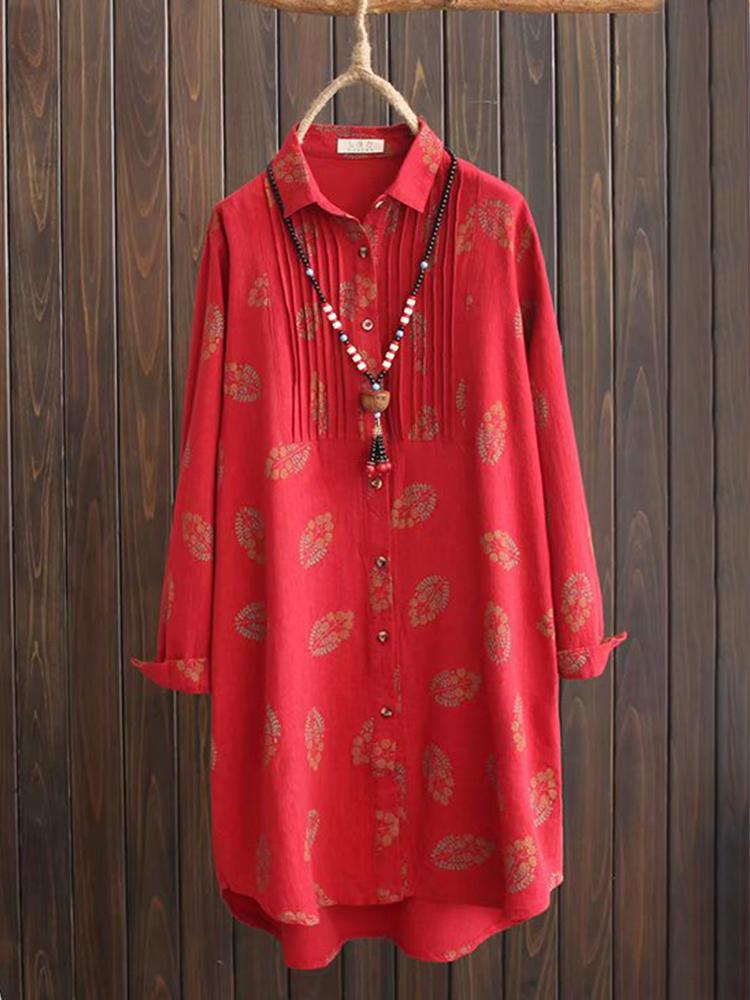 Women Floral Print Button Lapel Long Sleeve Blouse