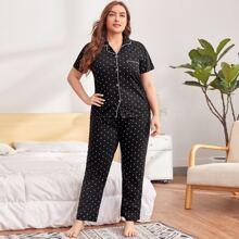 Schlafanzug Set mit Punkten Muster